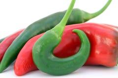 De rode peper van banaanSpaanse pepers Stock Foto