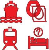 De rode pictogrammen plaatsen negentien Stock Afbeelding