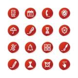 De rode pictogrammen van de stickersoftware Stock Afbeelding