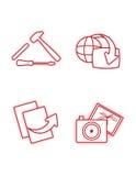 De rode pictogrammen van het karakter Stock Foto's