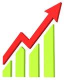 De rode pijl en de grafiek bewegen zich omhoog stock illustratie