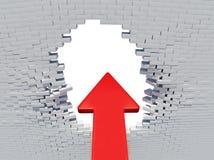 De rode pijl van de muurneerstorting met gat Stock Afbeeldingen