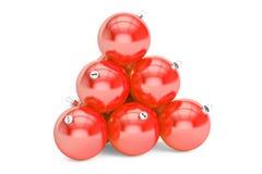De rode piramide van Kerstmisballen Nieuwjaar en Vrolijk 3D Kerstmisconcept, Stock Foto