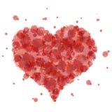 De rode plonsen van de hartwaterverf Royalty-vrije Stock Afbeeldingen