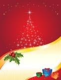De rode Prentbriefkaar van Kerstmis vector illustratie