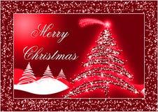 De rode prentbriefkaar van Kerstmis Royalty-vrije Stock Foto's