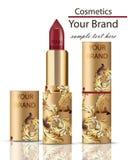 De rode realistische Spot van Lippenstiftschoonheidsmiddelen op Vector Matte lipgloss met ornamentdecor, gouden verpakkings origi Royalty-vrije Stock Foto