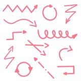 De rode Reeks van Pijllijnen van Geïsoleerd op Witte Achtergrond Vectorillustratiesamenvatting Het pijlenpictogram onderstreept t stock illustratie