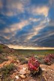 De rode rotsberg met boogzonsondergang betrekt dichtbij Calitzdorp in Sou Stock Foto