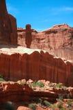 De rode Rotsvormingen overspant Nationaal Park dichtbij Moab Utah de V.S. Royalty-vrije Stock Foto's