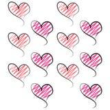 De rode roze witte Achtergrond van Valentine Hearts Pink Royalty-vrije Stock Foto