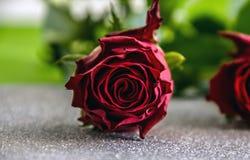 De rode rozen op zilveren achtergrond sluiten omhoog stock afbeeldingen
