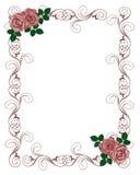 De Rode Rozen van het Malplaatje van de Uitnodiging van het huwelijk Stock Fotografie