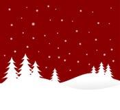 De rode Scène van de Winter van Kerstmis vector illustratie