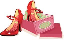 De rode schoenen van de vrouw en shoebox Stock Foto