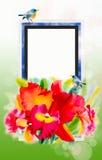 De rode schoonheid van de orchideebloem en paarvogel, in de lente Royalty-vrije Stock Foto's