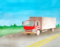 De rode semi-vrachtwagen die op een asfalt grijze weg drijven met twee ononderbroken stegen In waterverfstijl Achtergrondlandscha royalty-vrije stock fotografie