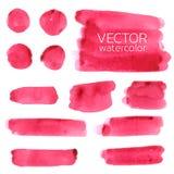 De rode slagen van de waterverfborstel Reeks van Vectorborstel royalty-vrije illustratie