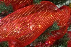 De rode slinger van het Kerstmislint in een boom Stock Foto