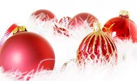 De rode SneeuwOrnamenten van Kerstmis Stock Foto's