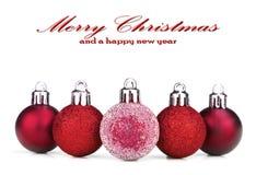 De rode Snuisterijen van Kerstmis Royalty-vrije Stock Foto's