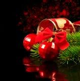 De rode snuisterijen van Kerstmis Royalty-vrije Stock Foto