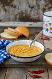 De rode soep van de linzeroom Stock Afbeelding