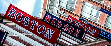 De Rode Sox banners van Boston Stock Fotografie