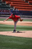 De Rode Sox waterkruik van Pawtucket Brandon Duckworth Stock Foto