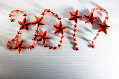 De rode sterren van de Kerstmisinschrijving 2017 Royalty-vrije Stock Afbeelding