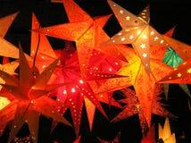 De rode Sterren van Kerstmis Stock Foto