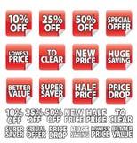 De rode Sticker van de Prijs royalty-vrije stock afbeeldingen