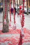 De rode strepen die van brandcrackers op bomen hangen stock foto
