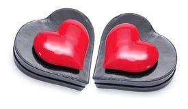 De rode Symbolen van het Hart op de Dozen van de Gift Stock Afbeelding