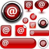 De rode tekens van Arroba. Stock Foto