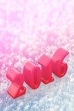 2016 de Rode Tekst van nieuwjaarkerstmis op de Sneeuw Stock Foto's