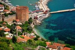 De Rode toren van Alanyaturkije Stock Foto's