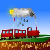 De rode trein gaat door landschap vector illustratie