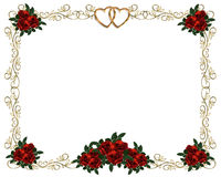 De rode uitnodiging van het Huwelijk van de Grens van Rozen stock illustratie