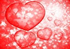 De rode Valentijnskaarten borrelen harten Royalty-vrije Stock Afbeeldingen