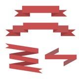 De rode Vastgestelde Vector van de Lintbanner Stock Fotografie