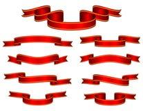 De rode Vastgestelde Vector van het Lint van de Banner Stock Foto