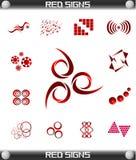 De rode Vastgestelde Vector van het Pictogram van Tekens, gemakkelijk Editable Royalty-vrije Stock Foto