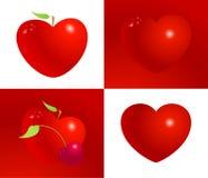 De rode vastgestelde vectorillustratie van het valentijnskaarthart Symbool van liefde, het leven, gezondheid en vriendschap Royalty-vrije Stock Fotografie