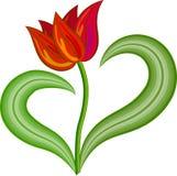 De rode vector van de tulpenbloem Stock Afbeeldingen