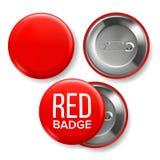 De rode Vector van het Kentekenmodel Pin Brooch Red Button Blank Twee Kanten Voor, Achtermening Het brandmerken Ontwerp 3D Realis royalty-vrije illustratie