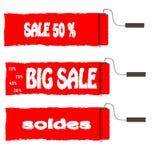 De rode verkoop van de rolverf en andere aankondigingen over de verkoop Stock Foto