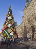 De Rode Vierkante Kerstboom van Moskou Royalty-vrije Stock Afbeelding