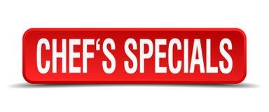 De rode vierkante knoop van chef-koksspecials op witte achtergrond Royalty-vrije Stock Foto