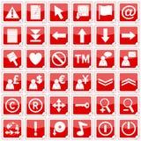 De rode Vierkante Pictogrammen van Stickers [2] stock afbeeldingen